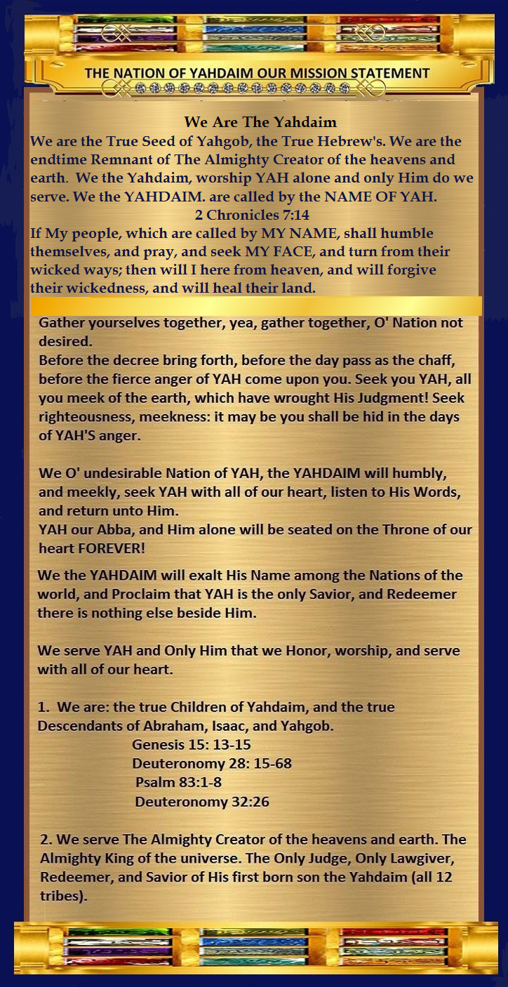 A YAHDAIM MISSION STATEMENT