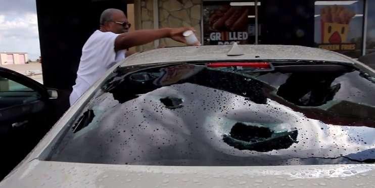 Hail Man and Car