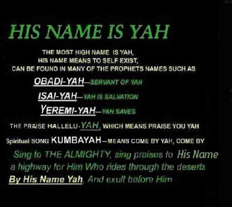 His Name is Yah