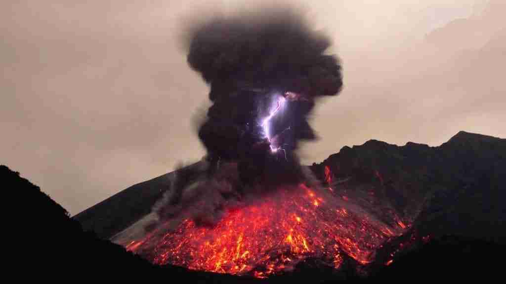 Volcano Lava And Lightening