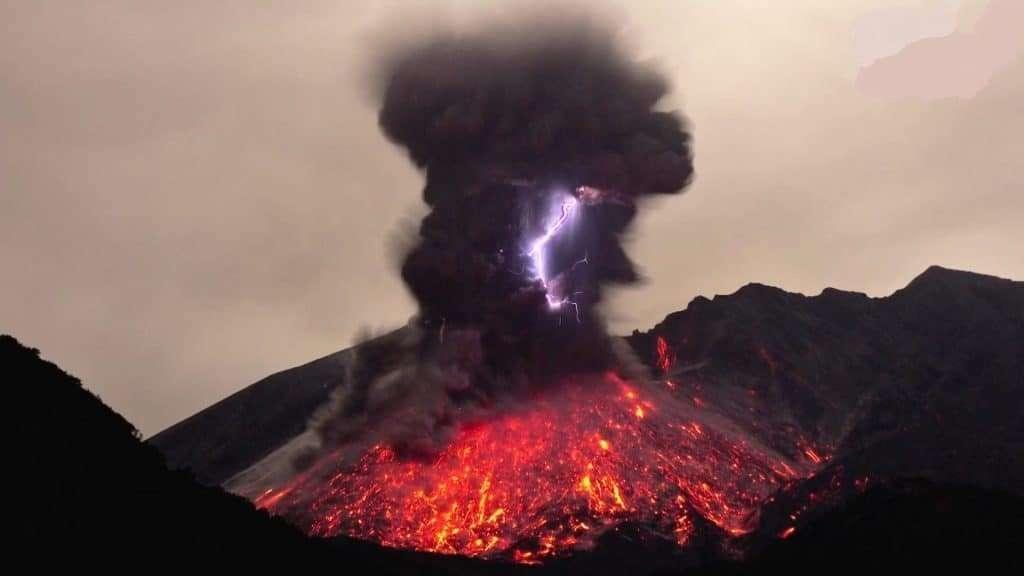Volcano Lava And Lightening